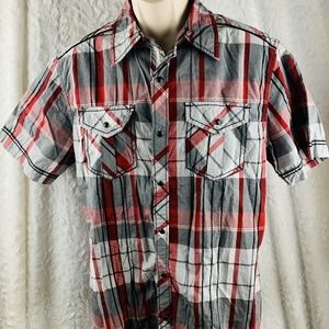 Men's Buckle BKE Red Black Gray Athletic Fit Shirt